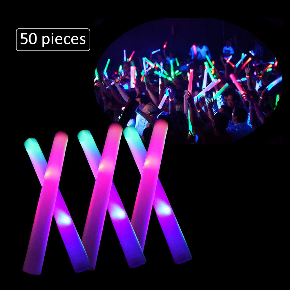LifBetter 50 PCS/Pack 16'' LED Foam Glow Sticks, 3 Modes Flashing Multicolor Light Up Batons Party Supplies, Festivals, Raves, Birthdays, Children Light Up Toy