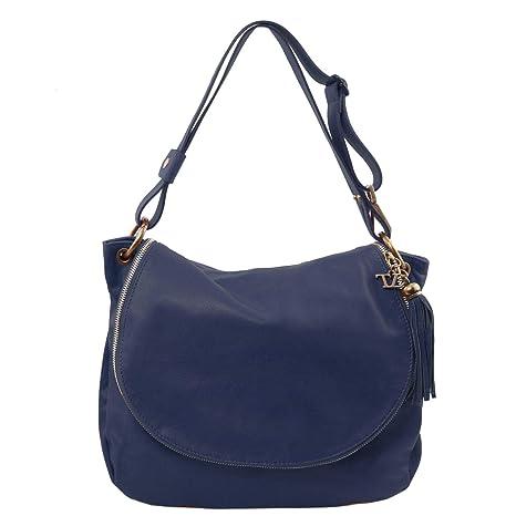 b120defea Tuscany Leather TLBag Bolso en Piel Suave con Borla y Bandolera Azul Oscuro