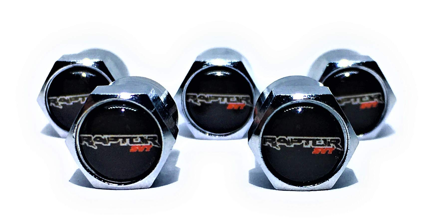 Buycleverly Ford Raptor SVT Metal Tire Valve Stem Caps Set Pack / 5 Pcs for Ford Raptor XL XLT Lariat Raptor King Ranch Platinum Limited by Buycleverly