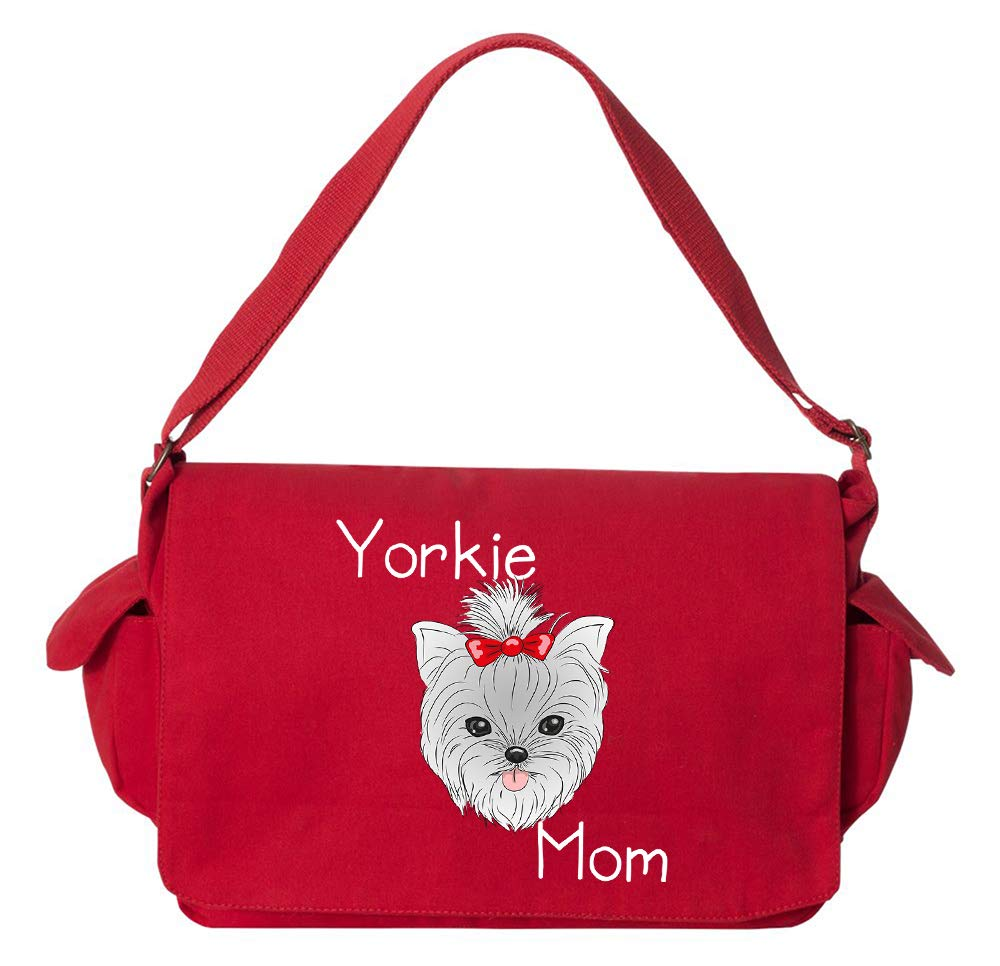 Tenacitee Yorkie Mom Bow Flamingo Raw Edge Canvas Messenger Bag