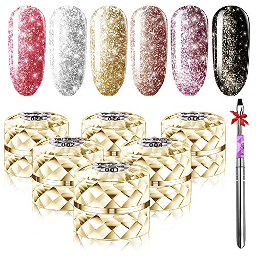 TOMICCA Glitter Gel Nail Polish Set UV LED Glitter Gel Polish Kit 6 Color Silver Gold Pink Soak Off Gel Glitter Nail Polish (Polish Glitter Gel)
