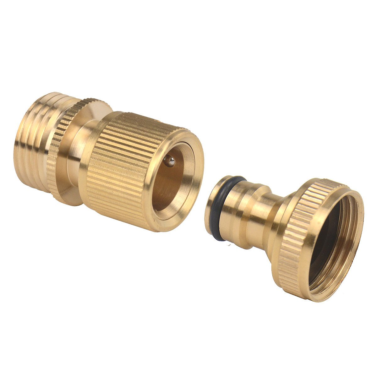 Set of Brass Male and Female 3/4 Inch Garden Hose End and Quick Connectors