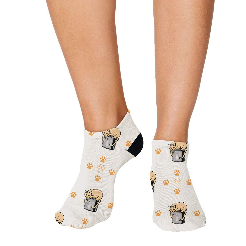 Tonkinese Cat Paws Pattern #1 Men-Women Adult Ankle Socks Crazy Novelty Socks
