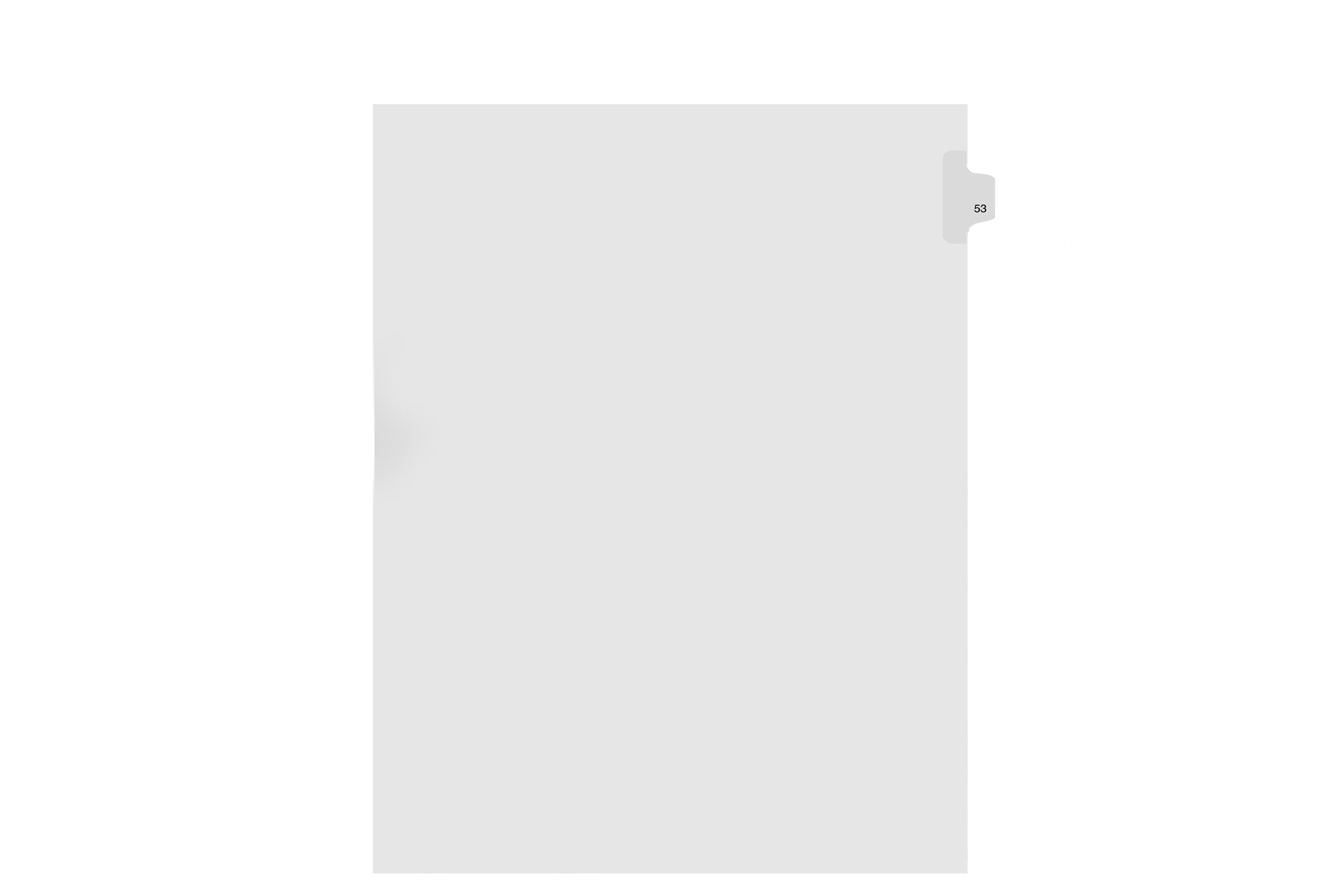 Kleer-Fax Letter Size Individually Numbered 1/25th Cut Side Tab Index Dividers, 25 Sheets per Pack, White, Number 53 (91053)