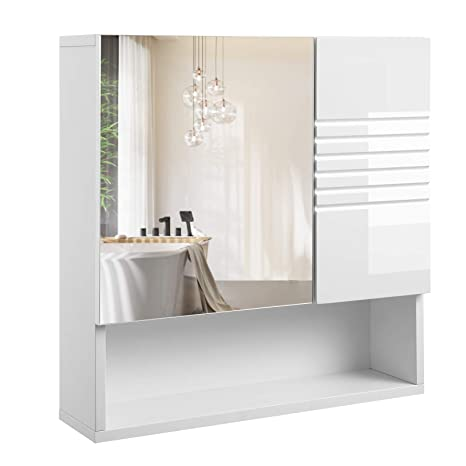 VASAGLE Spiegelschrank fürs Bad, Wandschrank, Badschrank mit  höhenverstellbaren Regalebenen, sanft schließende Scharniere, Badezimmer,  54 x 15 x 55 ...