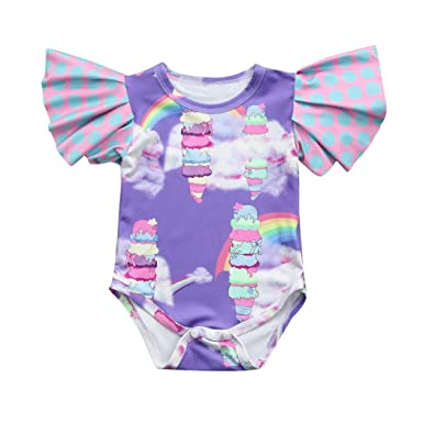 934697646bba Amazon.com  Fartido Romper Baby Girl Rainbow Print Ruffles Ice Cream ...