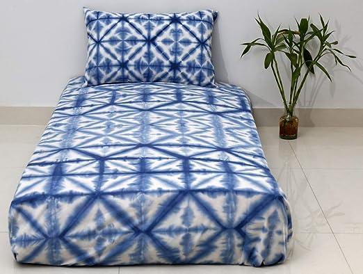 Indian Tie Dye Shibori Bedspread Cotton Indigo Bedding With Two Pillow Covers