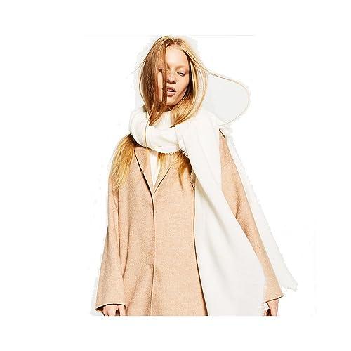 Donna Tinta Unita Morbido Extra Grande Cashmere Feel Sciarpe Stole Scialli Wrap Con Fringe(Bianco)