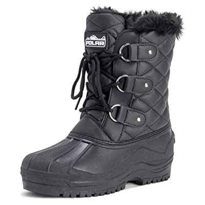 Polar Womens Mid Calf Mountain Walking Tactical Waterproof Boots   Snow Boots