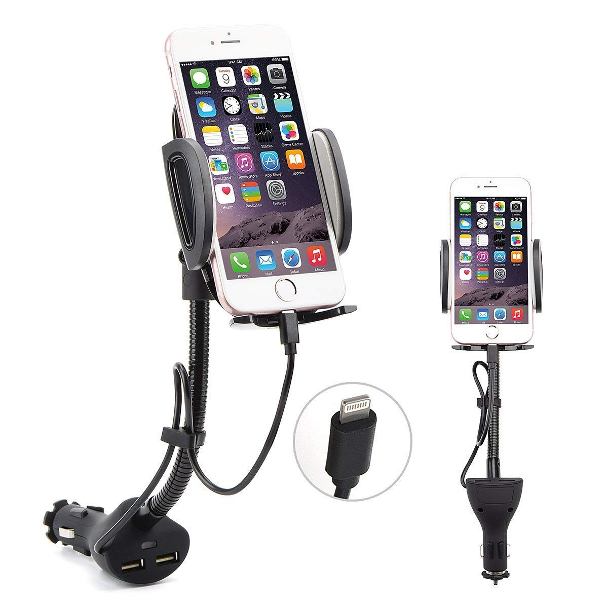[Upgraded] AUOPLUS Cigarette Lighter Phone Holder Car Mount Charger 3.1A Dual USB Ports with Built-in Charging Cord Compatible with iPhone
