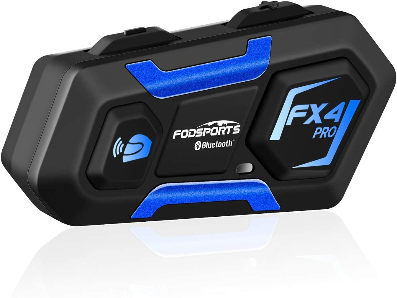 FODSPORTS FX4 Intercomunicador Bluetooth De Casco Para Moto Con Mirada De Ciencia Ficción,Sonido Estéreo Hi-Fi,Reduce El Ruido,Los Auriculares Casco De Motocicleta Apoyan GPS Por Voz,FM,Manos Libres