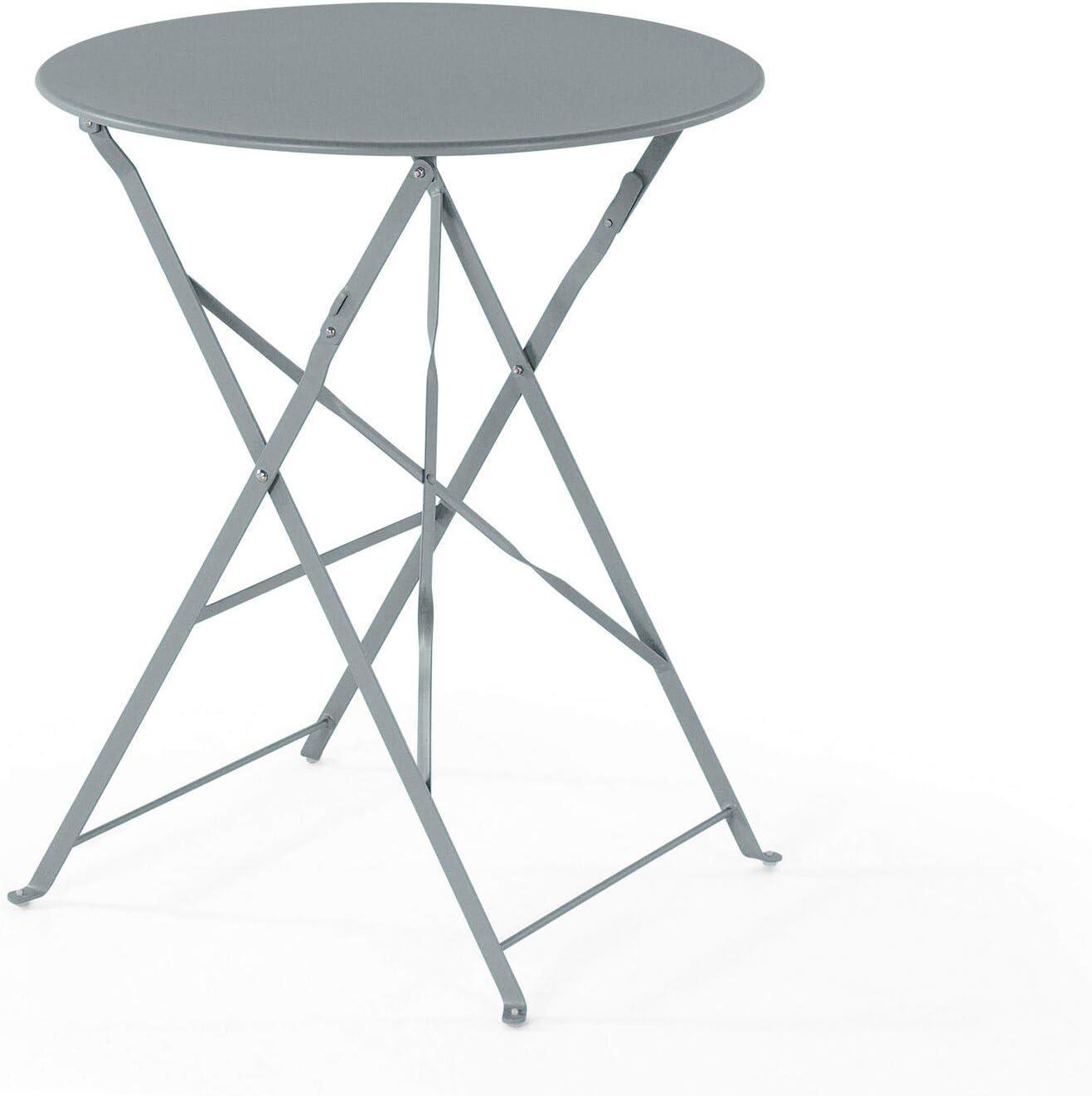 Modernes Balkonset Tisch mit 2 St/ühlen aus Stahl grau Fiori