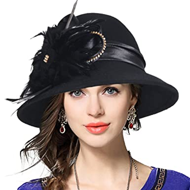 04d873d6206 VECRY Women s Wool Church Dress Cloche Hat Plumy Felt Bucket Winter Hat  (Black)
