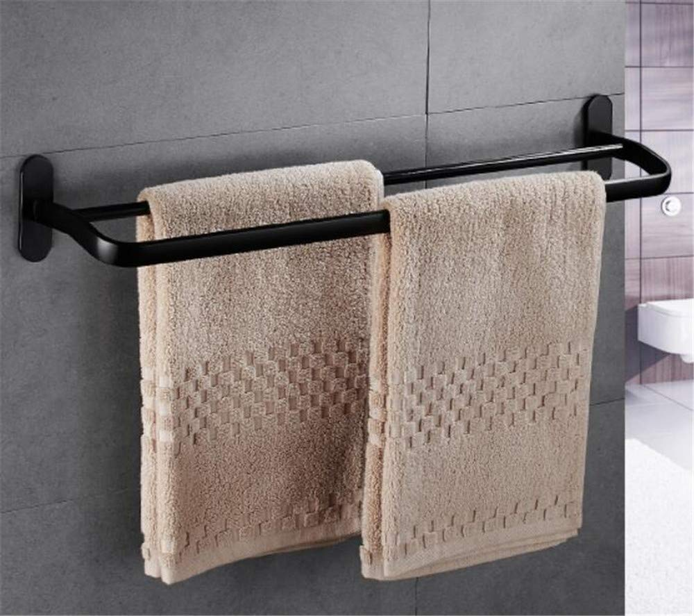 XJ&DD Drill Free Space Aluminum Not Rust Towel Rack,Black Matte Double Towel bar,Corrosion Resistant for Bathroom Kitchen Office-Black 60cm(24inch)