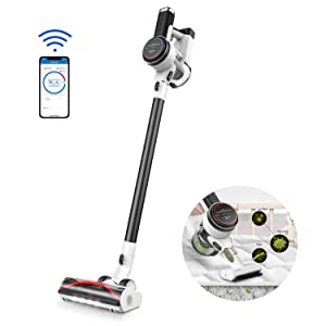 Tineco Cordless Vacuum Cleaner, Pure ONE S12, Smart Stick Vacuum 500W Rating Power Auto-Adjust Suction, Powered Rinse-Free Pre-Filter Cleaning Tool LED Screen Display App Control