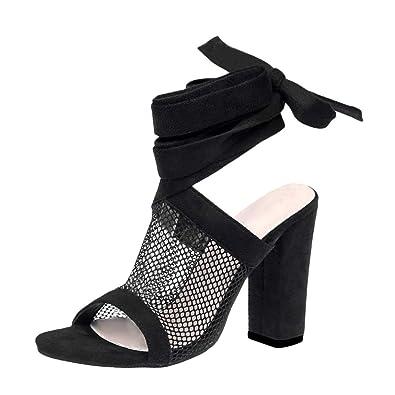 c179046a297b3d Tomwell Sandales Femme Talons Hauts Poissons Bouche Suède Sandale Chaussures  Open Toe Transparent Sandales à Lacets