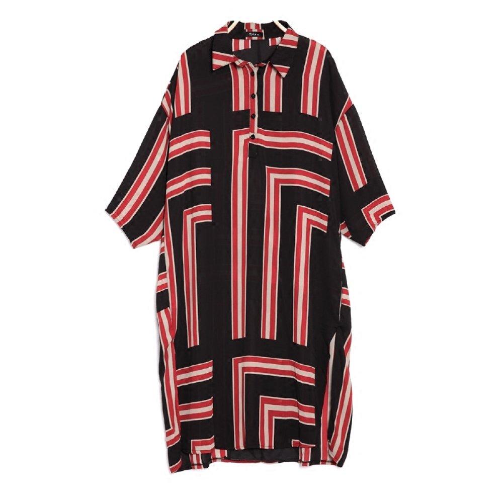 MX Vestido a de gasa estampado a Vestido rayas geométrico femenino de la primavera de las mujeres solapa de gran tamaño nueve puntas de manga larga de la manga,rojo,Código promedio XM 968ffa