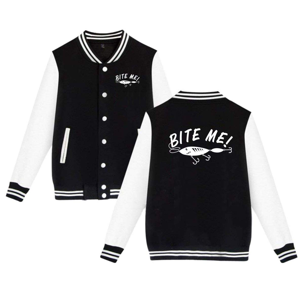 MEILOP Unisex Bite Me Funny Fishing Baseball Jacket Uniform Sweater Coat