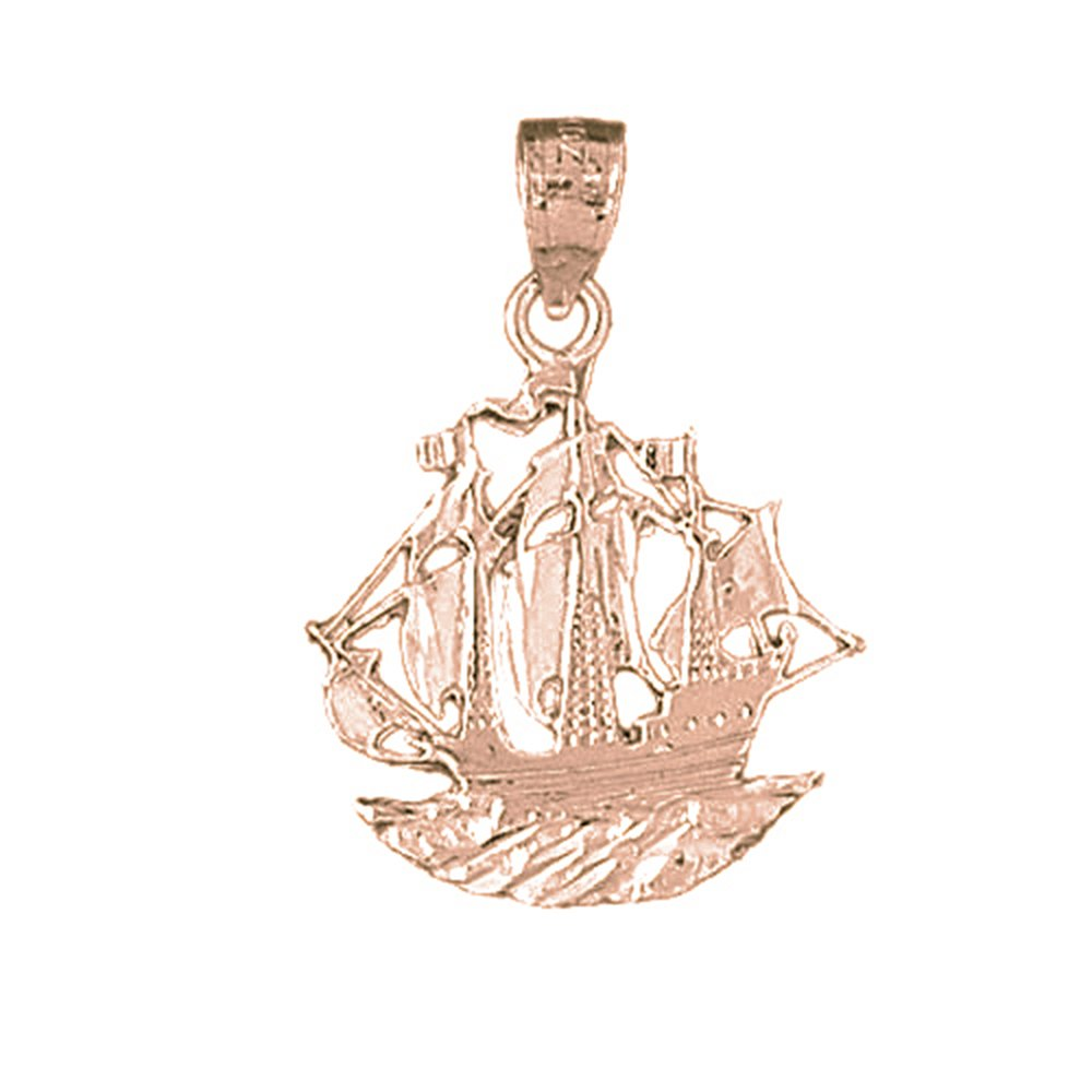 Rose Gold-plated Silver 28mm Pirate Ship Pendant