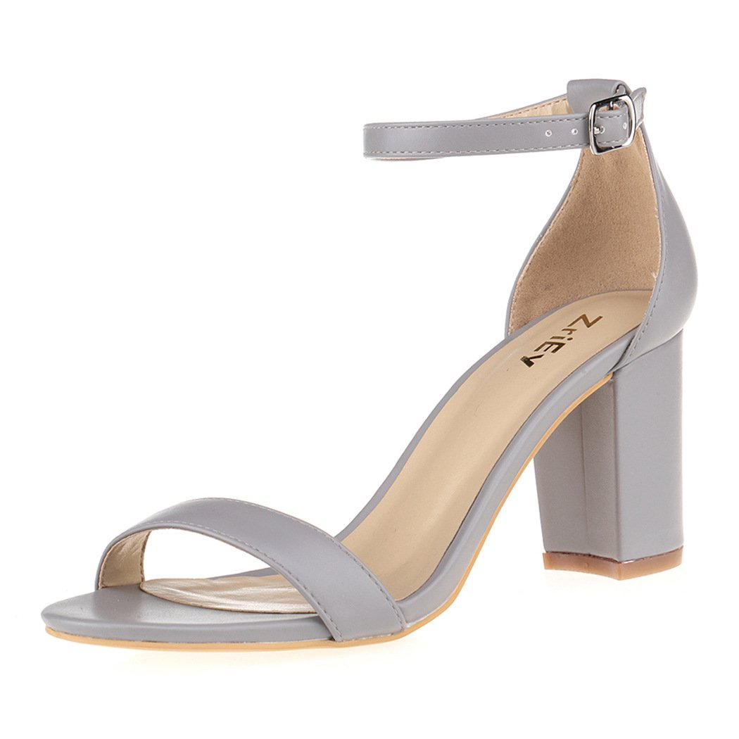 d979bca7be6 ZriEy Women s Chunky Block Strappy High Heel Sandals Ankle Band ...