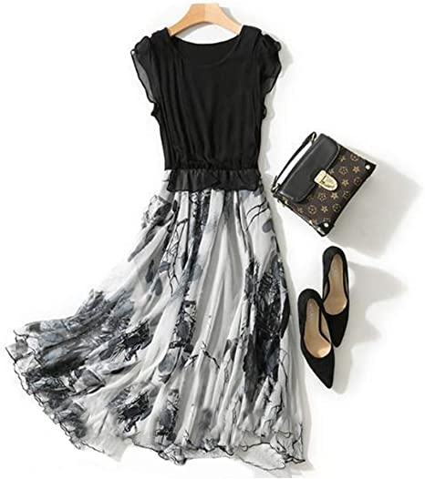 ZSRHH-Falda Vestido de Mujer Vestido de Vuelo Largo con Estampado ...