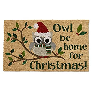 DII Natural Coir Fiber, 18x30  Entry Way Outdoor Door Mat with Non Slip Backing - Owl Be Home
