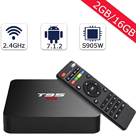 Android 7.1 TV Box YAGALA T95 S1 Amlogic S905W Quad Core 2GB//16GB HDMI 4K Full HD Ethernet WiFi 2.4GHz USB Media Player