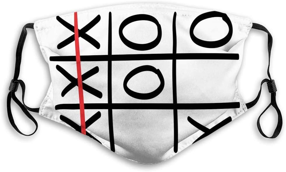 KENDIA Cómoda máscara a prueba de viento, Xo, popular patrón de juego de Tic Tac Toe Diseño dibujado a mano Win Victory Finish Theme, Vermilion Black White