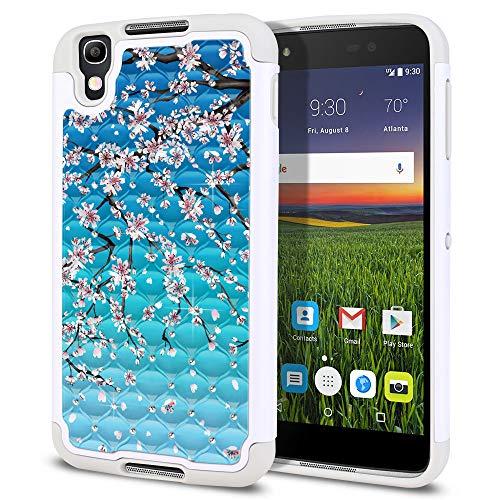 FINCIBO Case Compatible with Alcatel Idol 4 DALK4004 BlackBerry DTEK50 Nitro 4 5.2 inch, Dual Layer Hybrid Protector Case Cover TPU Rhinestone Bling for Alcatel Idol 4 - Falling Cherry ()