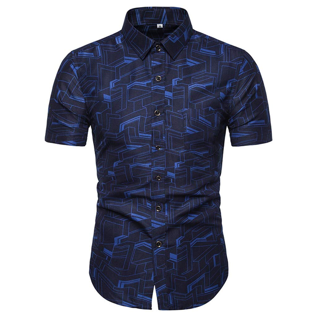 Casual Geometry Splice Printed Slim Fit Lapel Short Sleeve Button Down Polo Blouse Shirts Danhjin Men Summer Tops