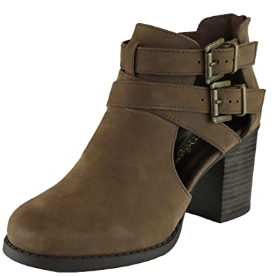 Women's Closed Round Toe Buckle Side Cut Out Chunky Stacked Heel Ankle Bootie