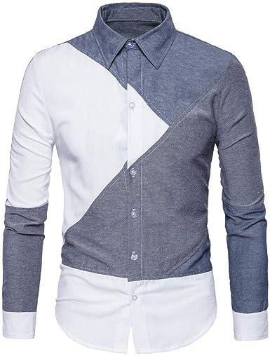 Oliviavan Camiseta para Hombre, Moda Casual de Empalme de Manga Larga de Camisa de Solapa de Urbanas Hombre: Amazon.es: Ropa y accesorios