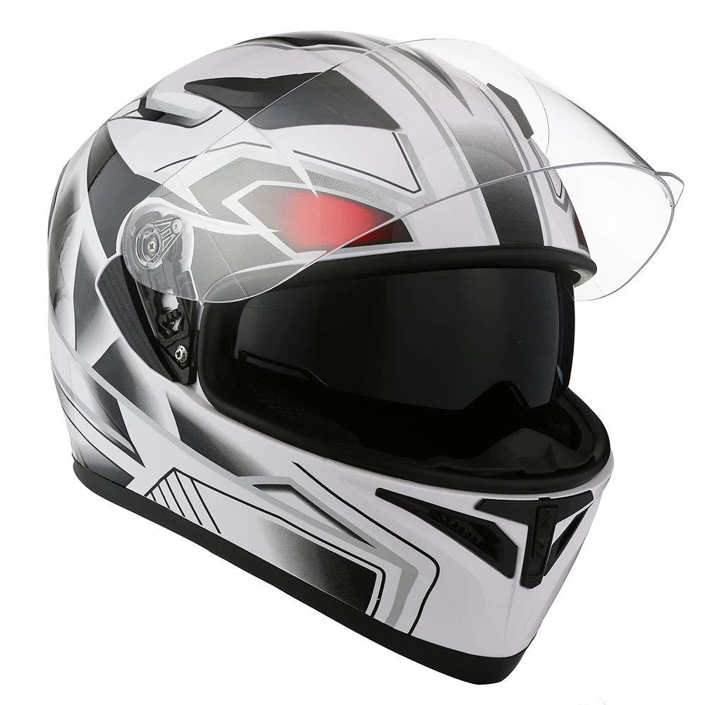 1STorm Motorcycle Street Bike Dual Visor/Sun Visor Full Face Helmet Panther White, Size Small(53-54 CM,20.9/21.3 Inch)