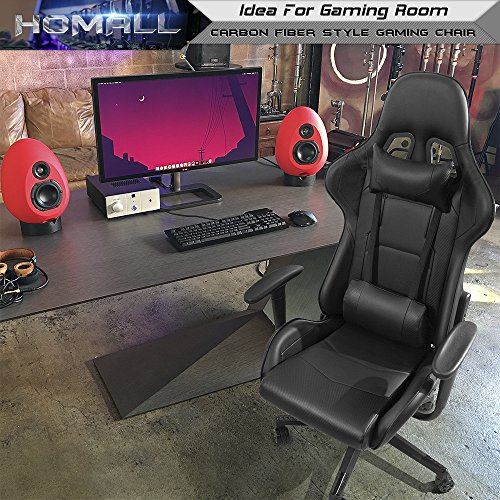 Cool Homall Gaming Office Chair Carbon Fiber Style Design Pu Leather Bucket Seat Racing Style Seat Gaming Chair W Headrest Cushion And Lumbar Support Caraccident5 Cool Chair Designs And Ideas Caraccident5Info