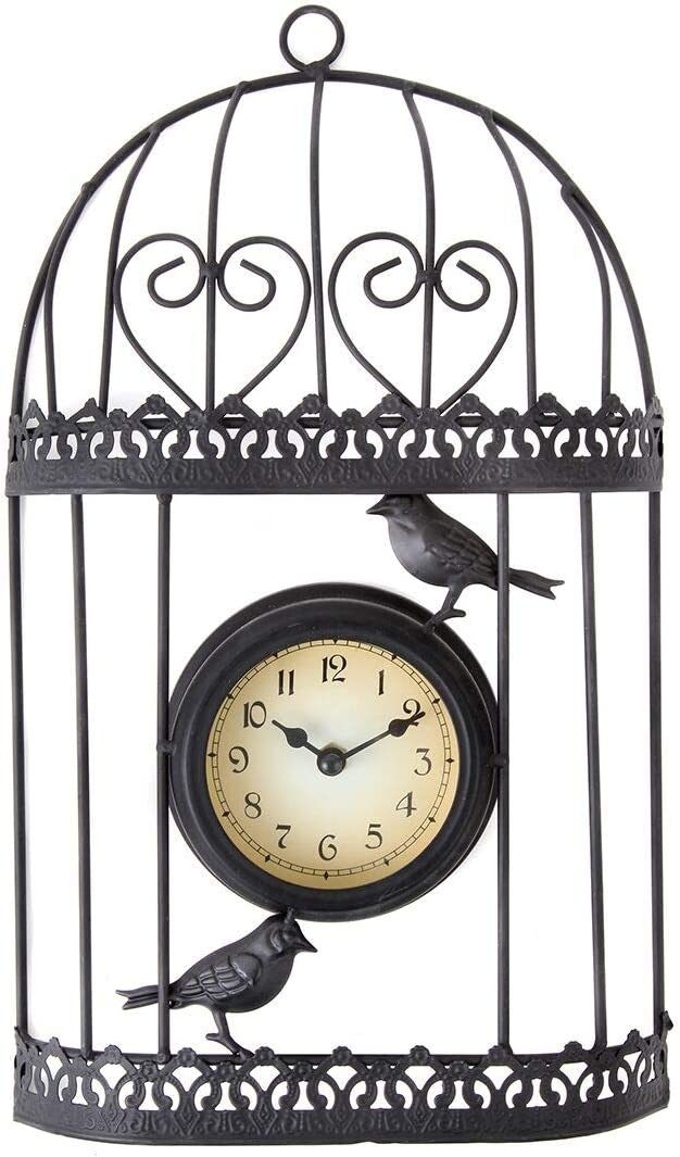 Lily's Home Rustic Victorian Sparrow and Hearts Birdcage Outdoor Hanging Garden Wall Clock, Black Wrought Iron