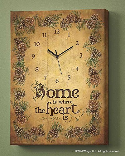 (Wild Wings Home is Where The Heart is Canvas Clock by Persis Clayton Weirs)