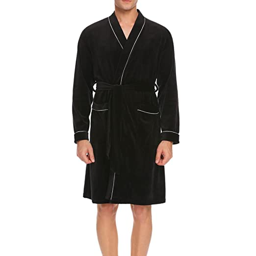 Dicesnow Mens Kimono Bathrobe Waffle Long Sleeve Lightweight Spa ... 4adacaa51