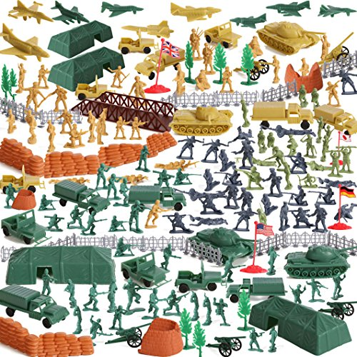 IQ Toys Huge 300 Piece Military Base Set, 200 Soldiers & 100 Army Accessories in a Storage -