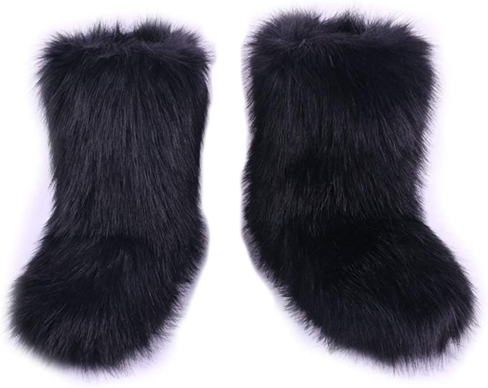 Winter Snow Boots Women/'s Faux Fur Suede Mid Calf With 6 Pair Striped Toe Socks