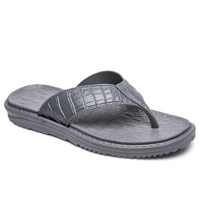 25a778fce6348f LXXA Mens Beach Summer Flip Flops Imitation Crocodile Skin Leather Thongs  Shoes Male Slipper