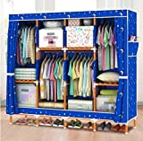 GL&G Portable Clothes Closet Oxford cloth Wardrobe Double Rod Storage Organizer Bedroom double people Wardrobes Solid wood Clothing Storage Foldable Closets,G,66''67''