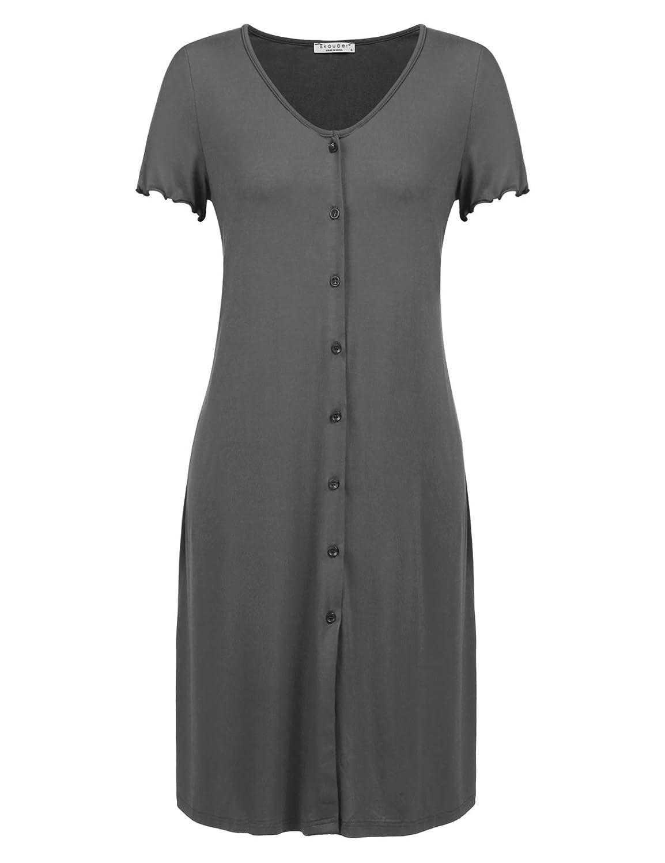 Ekouaer Womens Nightshirt Short Sleeve Button Down Nightgown V-Neck Sleepwear Pajama Dress