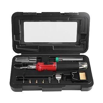 Kit Soldador, 10 en 1 profesional gas butano soldador soldadura herramienta de alta calidad mini