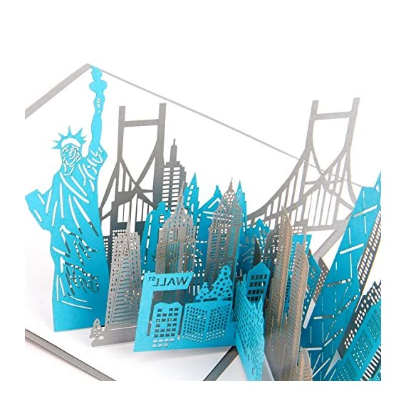 Paper Spiritz New York Silhouette Pop Up Birthday Greeting Cards Mothers Day Laser Cut 3D Wedding For Men Girls Thank You All Occasion