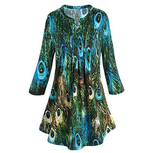 CATALOG CLASSICS Women's Tunic Top - Green & Blue Peacock Print Pleated Blouse - Small