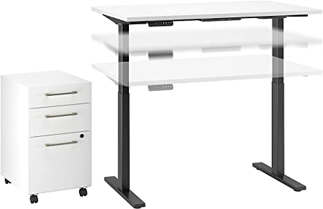 Move 60 Series 48w X 30d Height Adjustable Standing Desk With Storage In White With Black Base Amazon Ca Home Kitchen