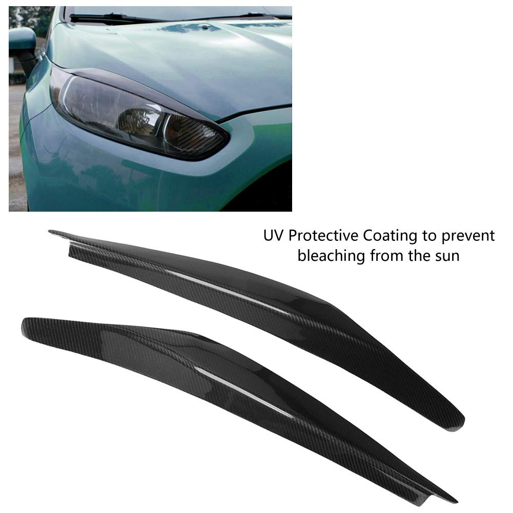 KIMISS 2Pcs Car Headlight Fibra di Carbonio Palpebre Sopracciglia per Il Periodo 2013-2016