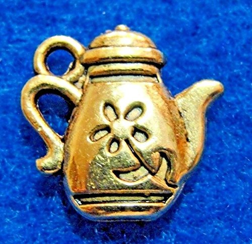 10Pcs. Tibetan Antique Gold TEAPOT or Pitcher Charms Pendants Findings PR235 Crafting Key Chain Bracelet Necklace Jewelry Accessories Pendants
