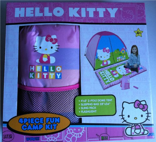 Hello Kitty 4 Piece Fun Camp Kit - Dome Tent, Sleeping Bag, Sling Pack and Flash Light]()