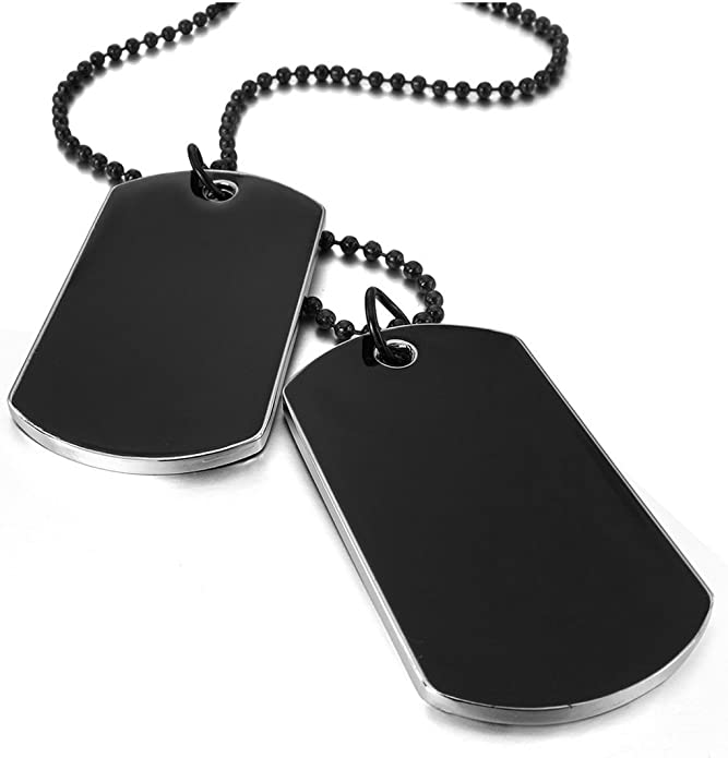 Army Style Double Dog Tag 2 pcs Pendant Necklace, Black Chain.: Amazon.ae